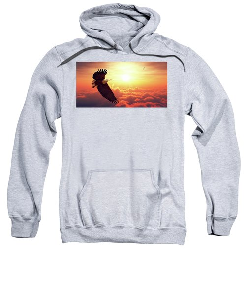 Fish Eagle Flying Above Clouds Sweatshirt