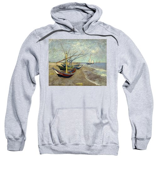 Sweatshirt featuring the painting Fishing Boats On The Beach by Van Gogh