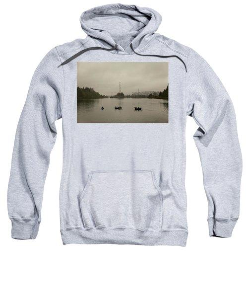 Fishing On Foggy Columbia River Sweatshirt