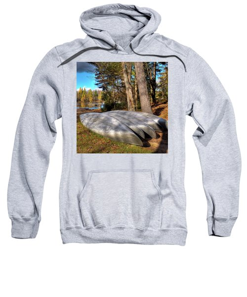 Sweatshirt featuring the photograph Five Canoes At Woodcraft Camp by David Patterson