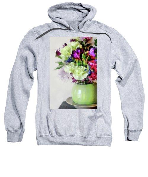 Floral Bouquet In Green Sweatshirt