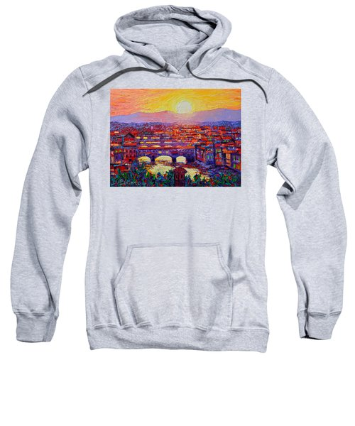 Florence Sunset Over Ponte Vecchio Abstract Impressionist Knife Oil Painting By Ana Maria Edulescu Sweatshirt