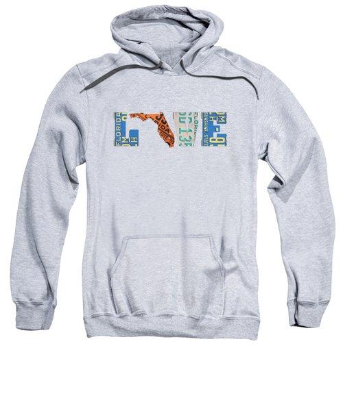 Florida State Love Heart License Plates Art Phrase Sweatshirt