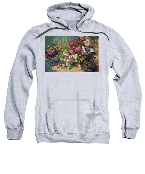 Flower Baskets And Flower Pots In A Garden Sweatshirt