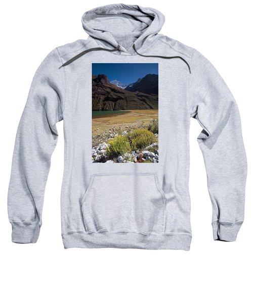 Flowers And Mountain Lake In Santa Cruz Valley Sweatshirt