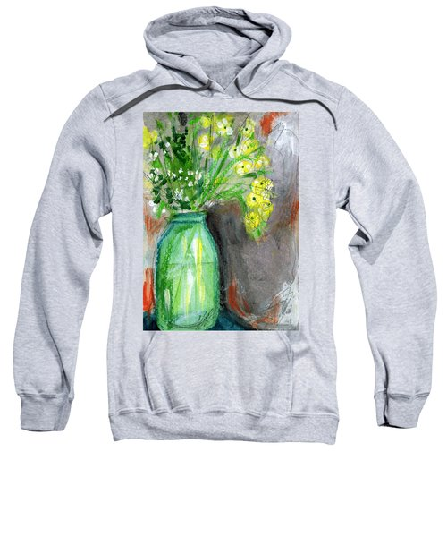 Flowers In A Green Jar- Art By Linda Woods Sweatshirt