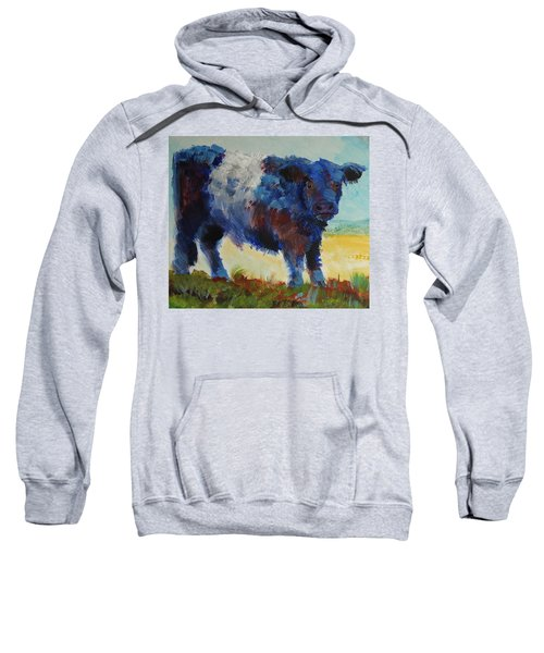 Fluffy Shaggy Belted Galloway Cow - Cow With A White Stripe Sweatshirt