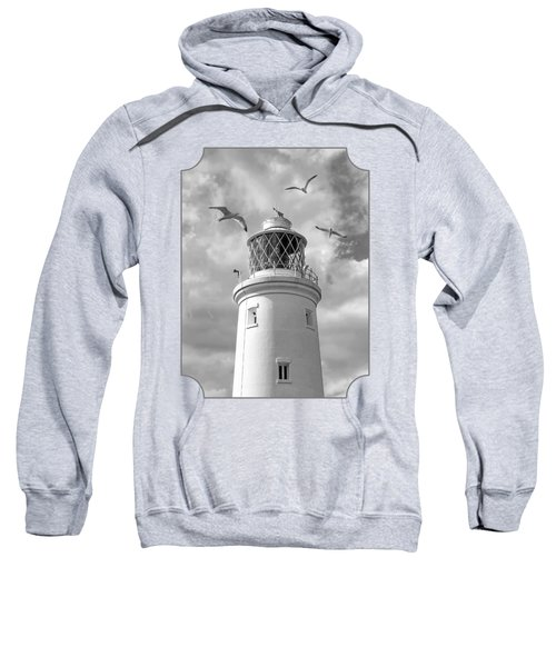 Fly Past - Seagulls Round Southwold Lighthouse In Black And White Sweatshirt by Gill Billington