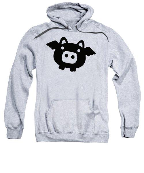 Flying Pig - Black Sweatshirt by Julia Jasiczak