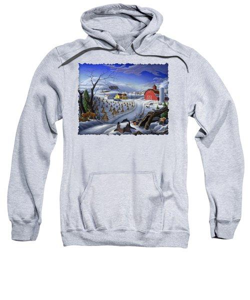 Folk Art Winter Landscape Sweatshirt by Walt Curlee