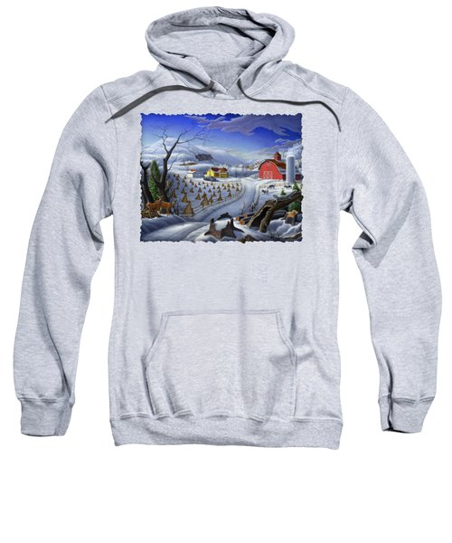 Folk Art Winter Landscape Sweatshirt