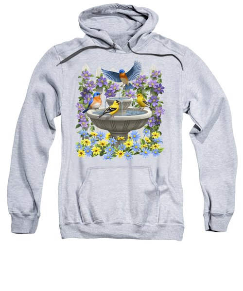 Fountain Festivities - Birds And Birdbath Painting Sweatshirt