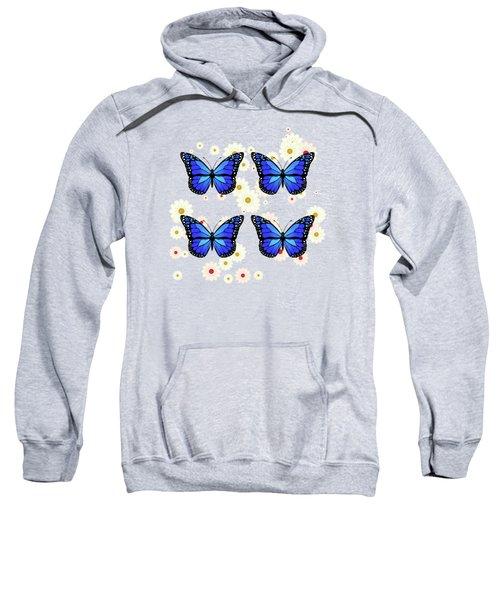Four Blue Butterflies Sweatshirt
