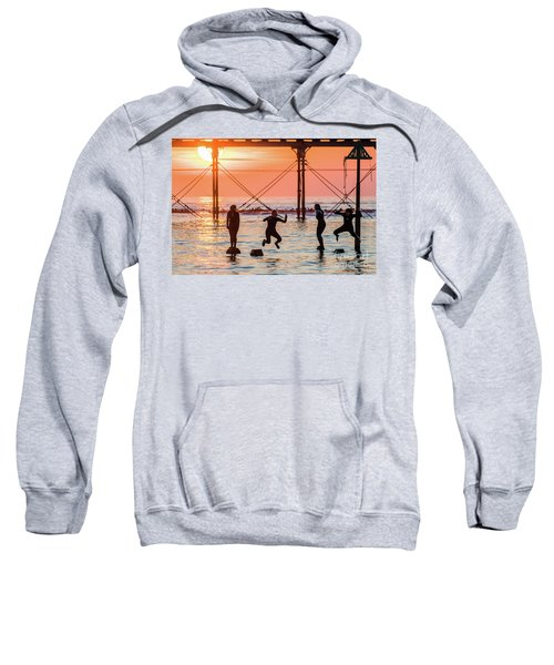 Four Girls Jumping Into The Sea At Sunset Sweatshirt