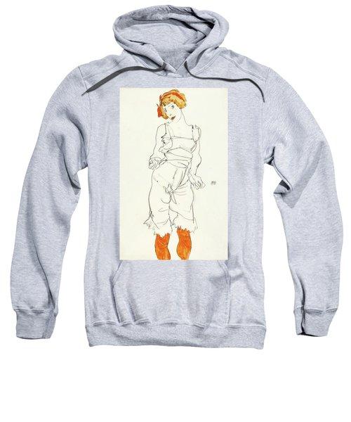 Frau In Unterwasche Sweatshirt