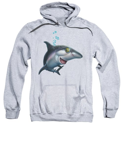 friendly Shark Cartoony cartoon under sea ocean underwater scene art print blue grey  Sweatshirt by Walt Curlee
