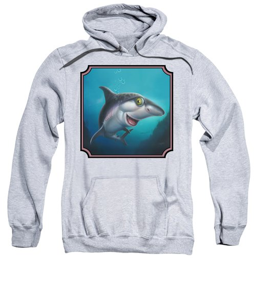 Friendly Shark Cartoony Cartoon - Under Sea - Square Format Sweatshirt