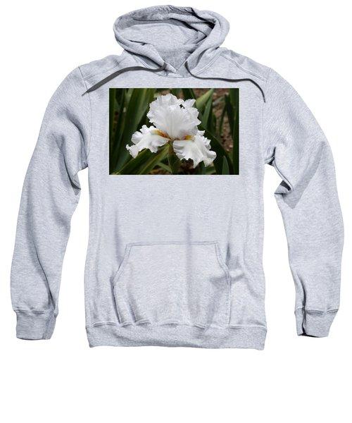 Frilly White Iris Flower Sweatshirt