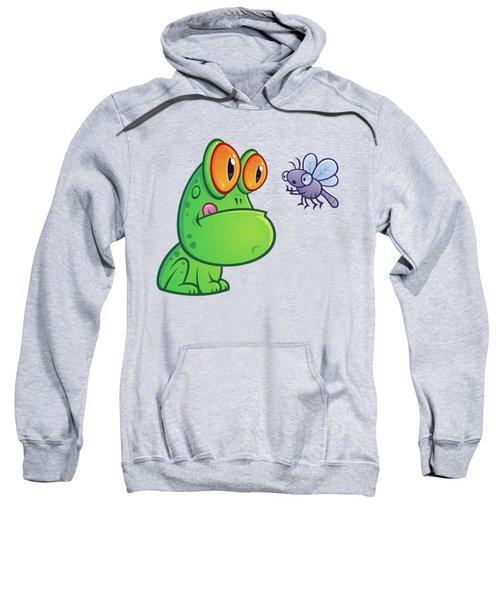 Frog And Dragonfly Sweatshirt by John Schwegel
