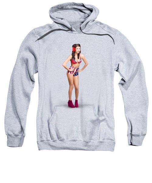 Full Body Pin-up Girl. American Retro Style Sweatshirt