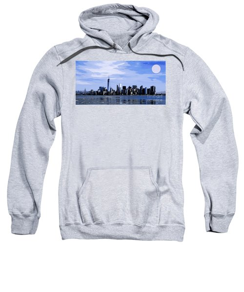 Full Moon Over Manhattan New York Skyline Sweatshirt