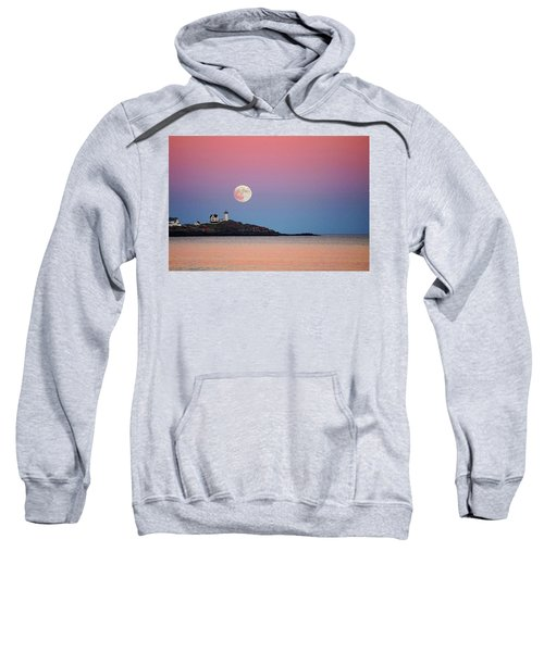 Full Moon Rising At Nubble Light Sweatshirt