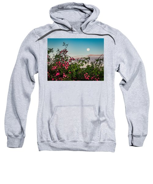 Sweatshirt featuring the photograph Full Moon Sets Over Wild Irish Roses In County Clare by James Truett