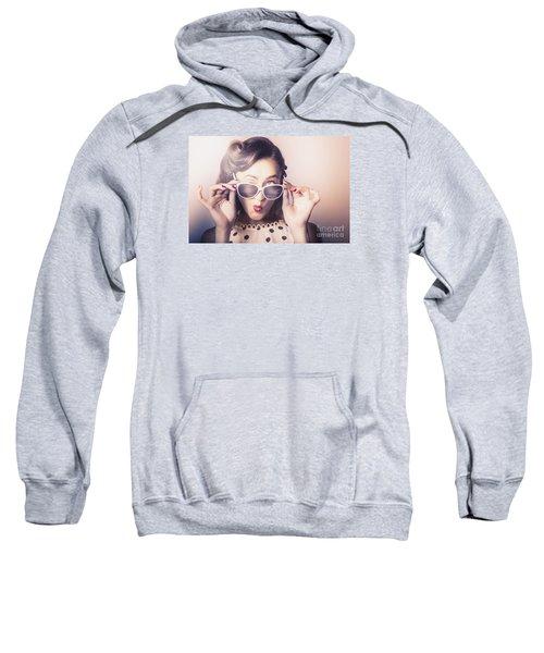 Fun Comical Retro Fashion Portrait. Pin-up Pout Sweatshirt