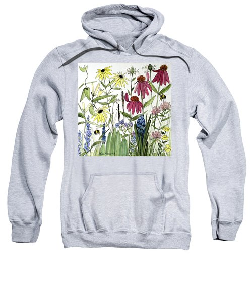 Garden Flowers With Bees Sweatshirt