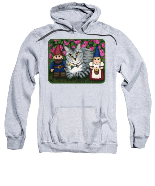 Garden Friends - Tabby Cat And Gnomes Sweatshirt