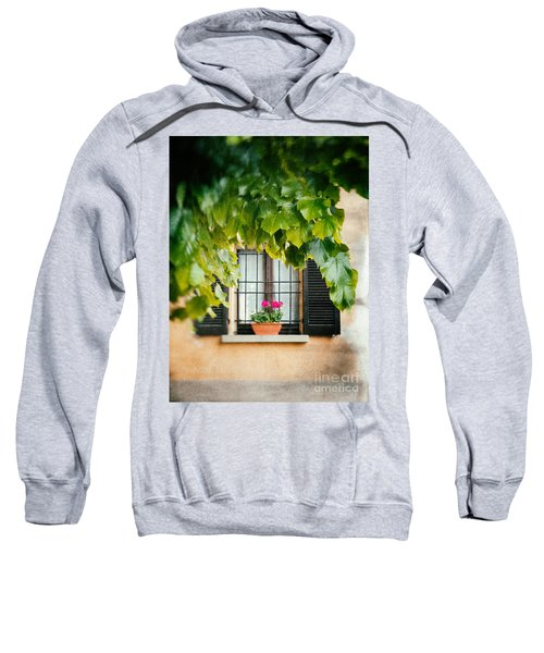 Sweatshirt featuring the photograph Geraniums On Windowsill by Silvia Ganora