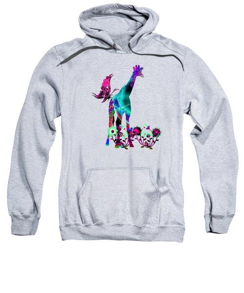 Giraffe And Flowers2 Sweatshirt