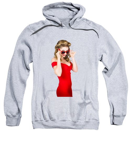 Girl Adjusting Glasses To Flashback A 1950s Look Sweatshirt by Jorgo Photography - Wall Art Gallery