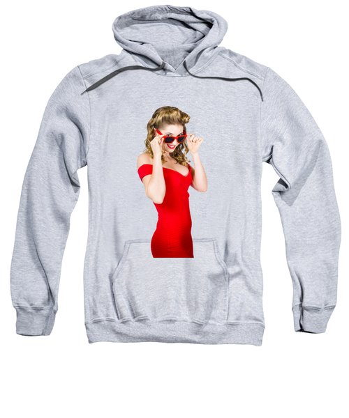 Girl Adjusting Glasses To Flashback A 1950s Look Sweatshirt