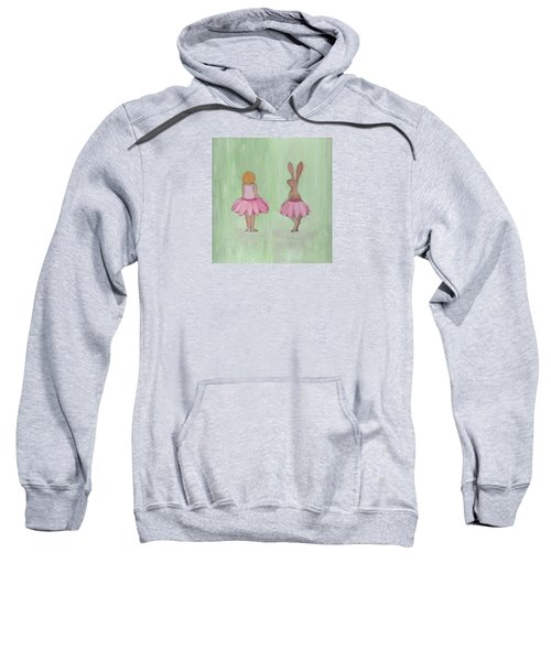 Girl And Bunny In Pink Tutus Sweatshirt