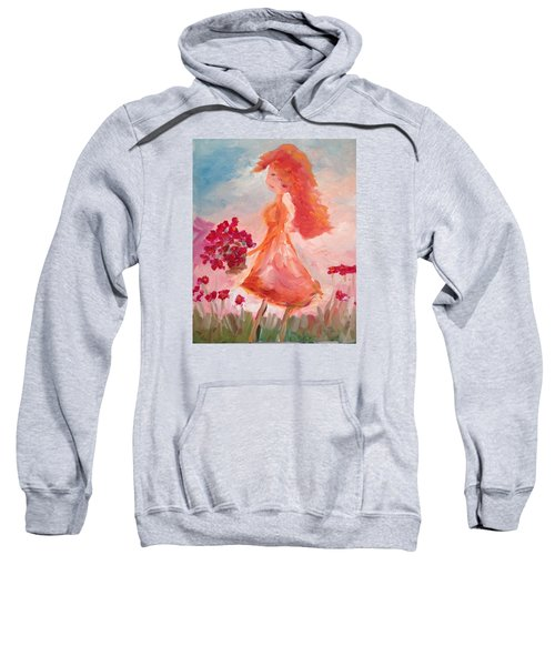 Girl With Poppies Sweatshirt by Roxy Rich