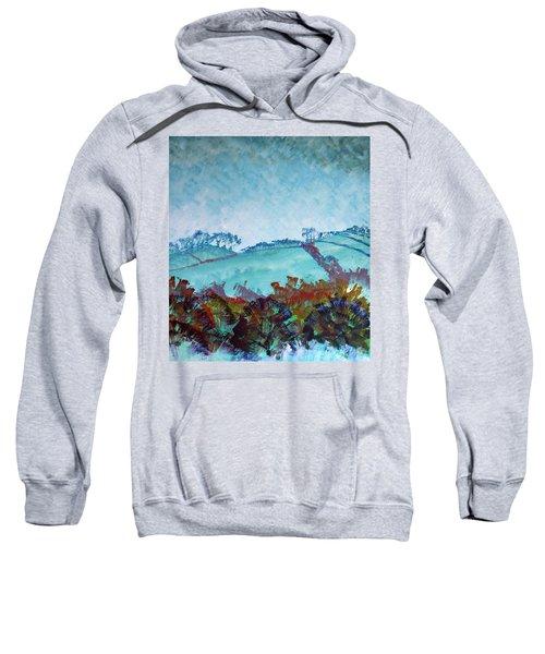 Gloomy Overcast Cloudy Day Devon Rolling Hills Sweatshirt