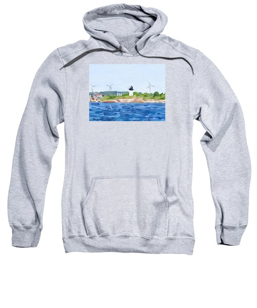 Gloucester Skyline From Harbor With Windmills And Ten Pound Island Lighthouse Sweatshirt by Melissa Abbott