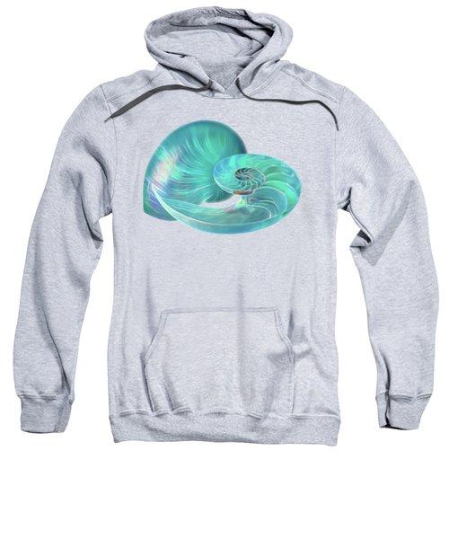 Glowing Turquoise Nautilus Shell Sweatshirt