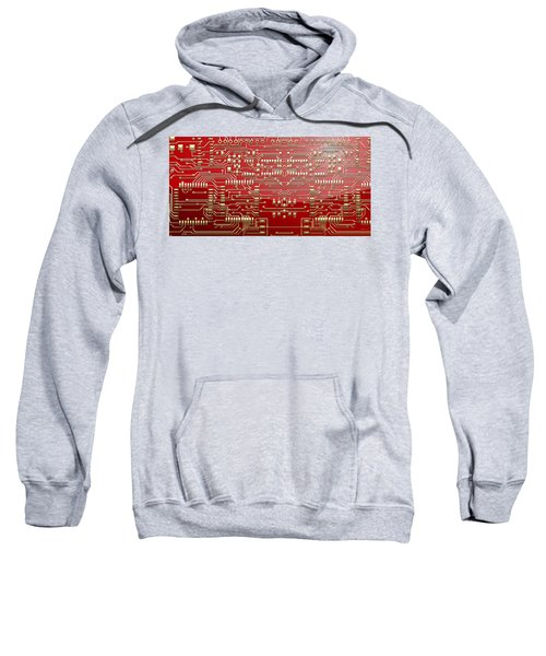 Gold Circuitry On Red Sweatshirt by Serge Averbukh