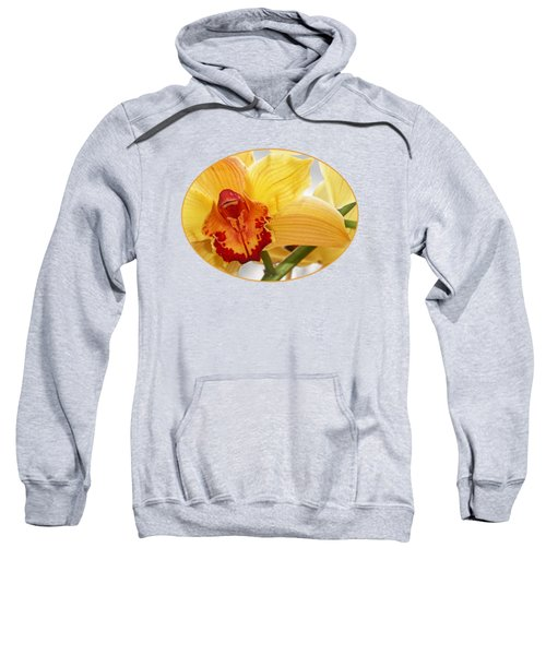 Golden Cymbidium Orchid Sweatshirt by Gill Billington