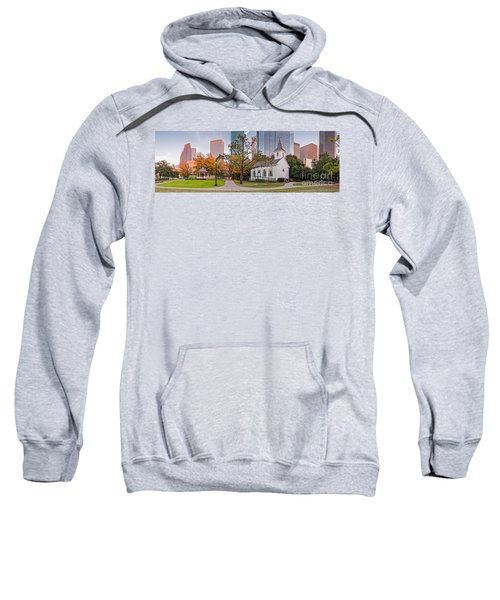 Golden Hour Fall Panorama Of Downtown Houston And St. John Church At Sam Houston Park - Texas Sweatshirt