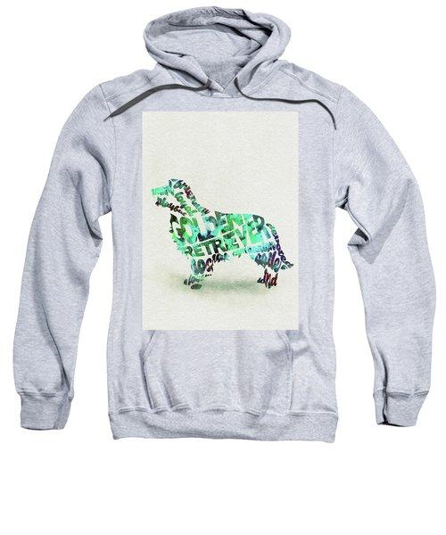 Golden Retriever Dog Watercolor Painting / Typographic Art Sweatshirt