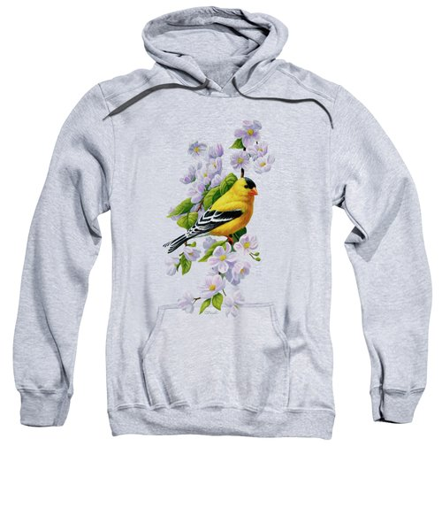 Goldfinch Blossoms Greeting Card 1 Sweatshirt by Crista Forest
