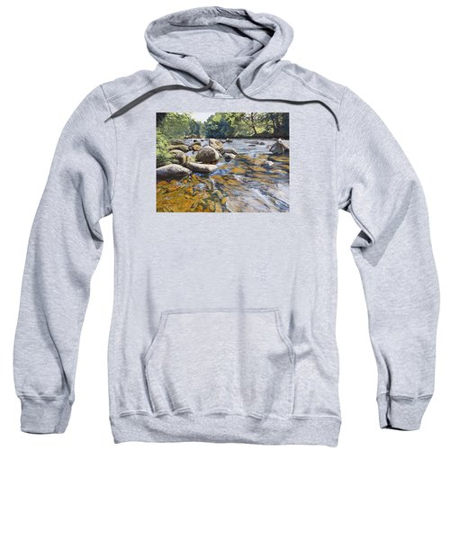 Sweatshirt featuring the painting Granite Boulders East Okement River by Lawrence Dyer