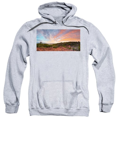 Granite Hills Of Inks Lake State Park Against Fiery Sunset - Burnet County Texas Hill Country Sweatshirt