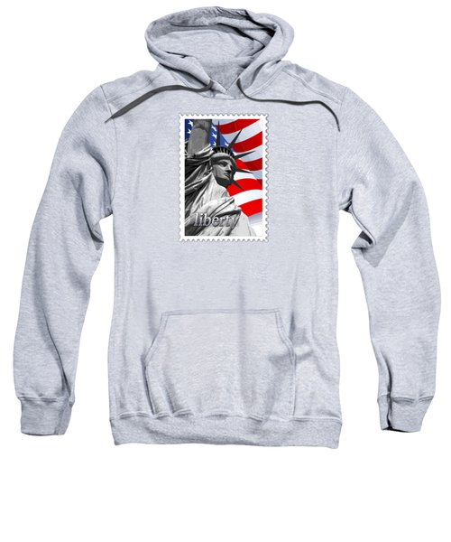 Graphic Statue Of Liberty With American Flag Text Liberty Sweatshirt by Elaine Plesser