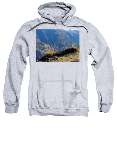 Grass In The Foreground, The Main Valley Of The Swiss Canton Of Valais In The Background Sweatshirt