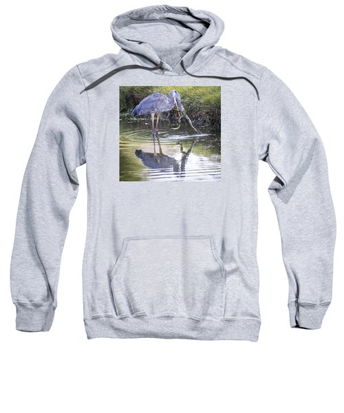 Sweatshirt featuring the photograph Great Blue Heron Vs Huge Frog by Ricky L Jones