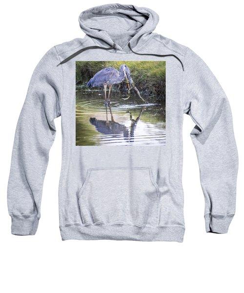 Great Blue Heron Vs Huge Frog Sweatshirt